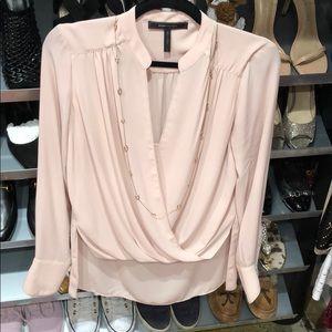 BCBG blush silk blouse S
